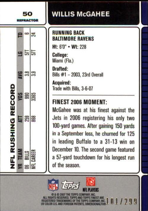 2007 Finest Blue Refractors #50 Willis McGahee back image