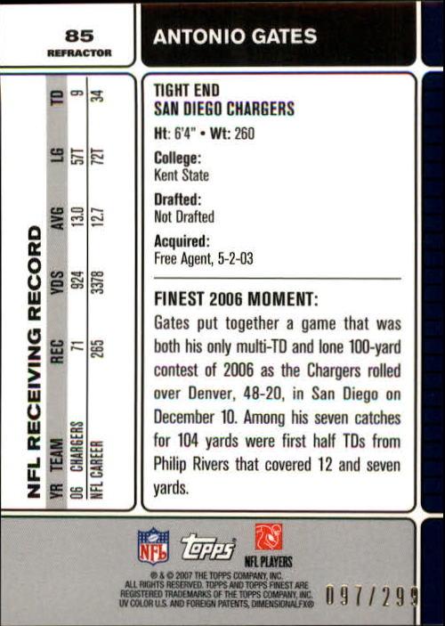 2007 Finest Blue Refractors #85 Antonio Gates back image