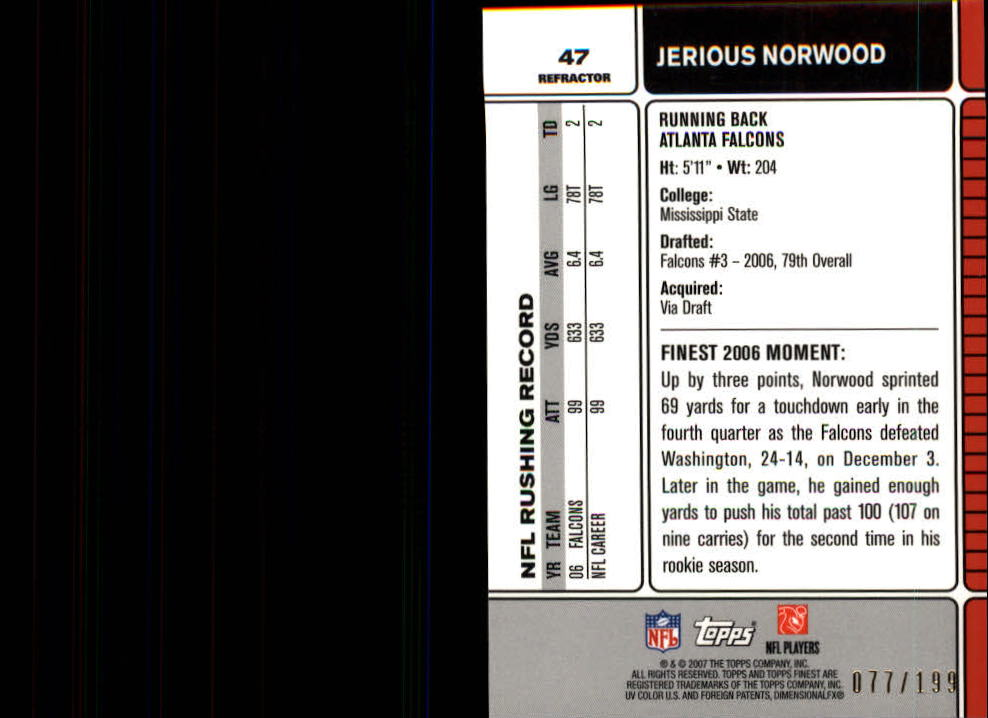 2007 Finest Green Refractors #47 Jerious Norwood back image