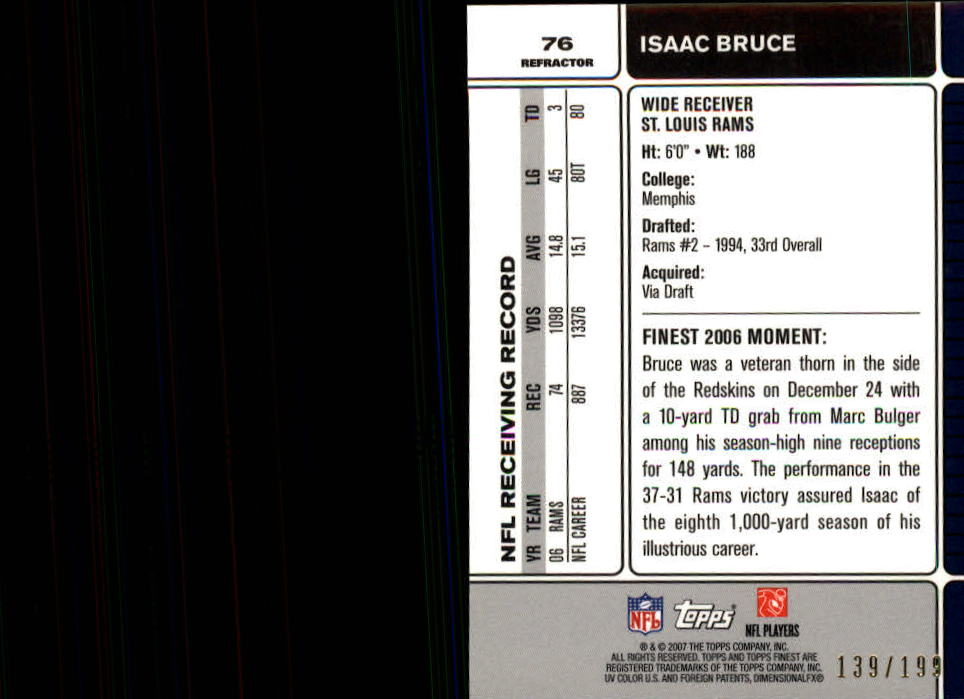 2007 Finest Green Refractors #76 Isaac Bruce back image