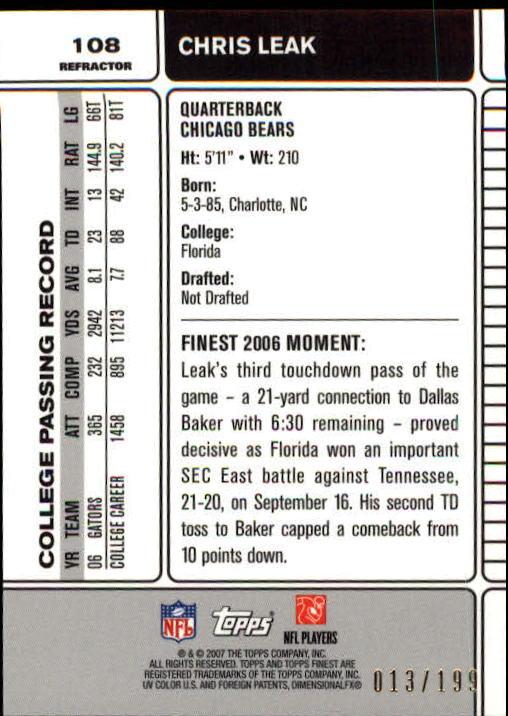 2007 Finest Green Refractors #108 Chris Leak back image