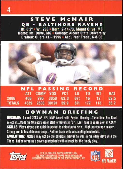 2007 Bowman #4 Steve McNair back image