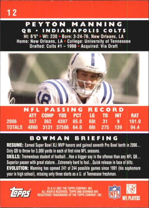 2007 Bowman #12 Peyton Manning back image