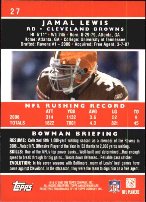 2007 Bowman #27 Jamal Lewis back image