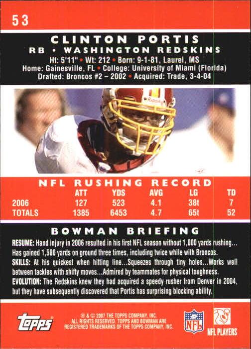 2007 Bowman #53 Clinton Portis back image