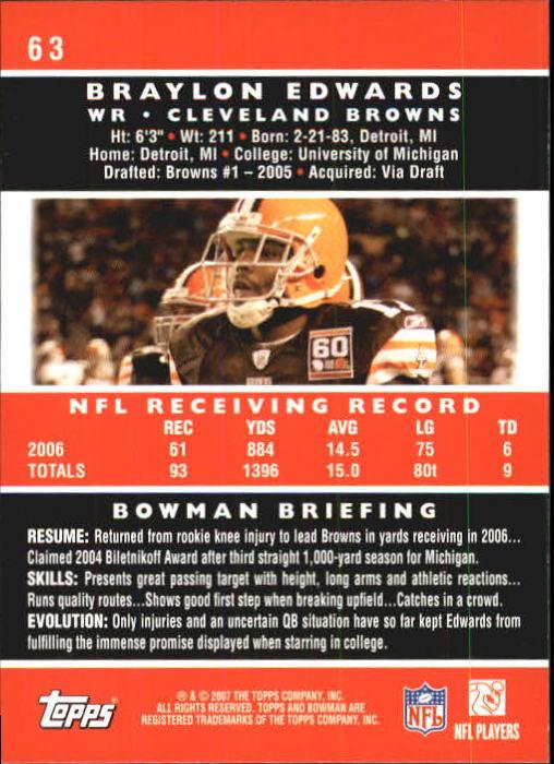 2007 Bowman #63 Braylon Edwards back image
