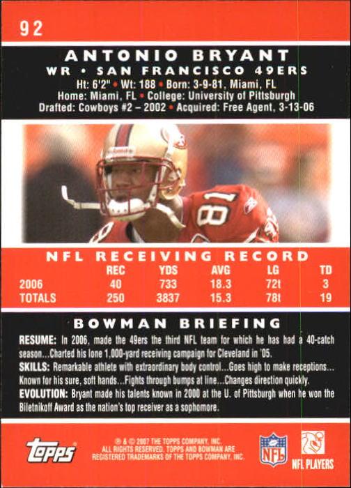 2007 Bowman #92 Antonio Bryant back image