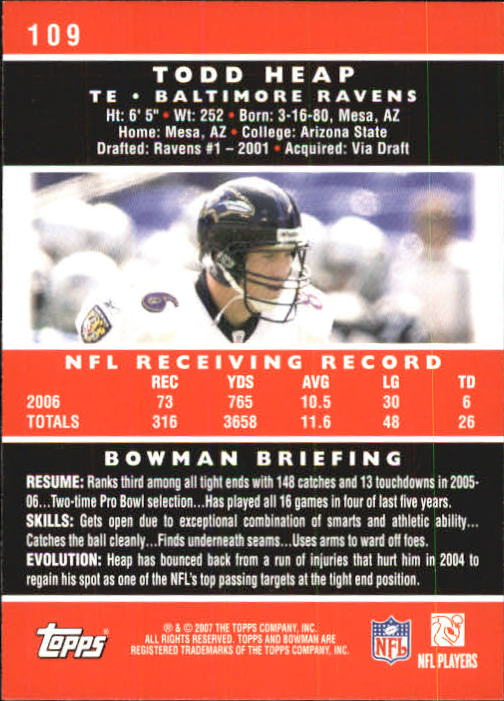 2007 Bowman #109 Todd Heap back image