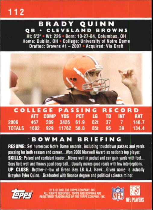 2007 Bowman #112 Brady Quinn RC back image