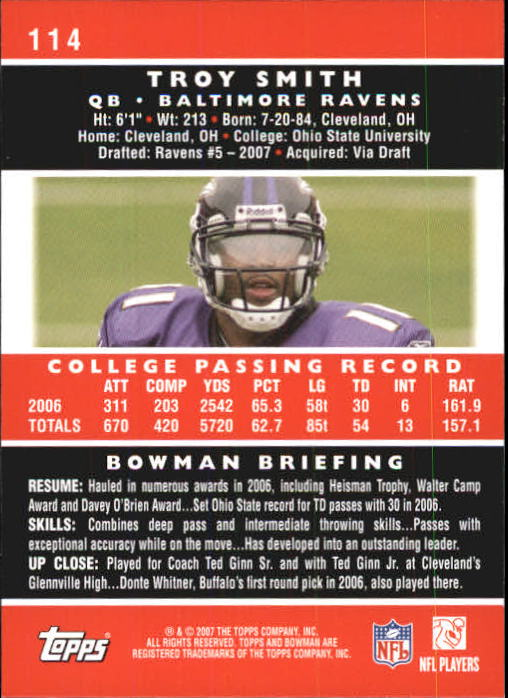 2007 Bowman #114 Troy Smith RC back image