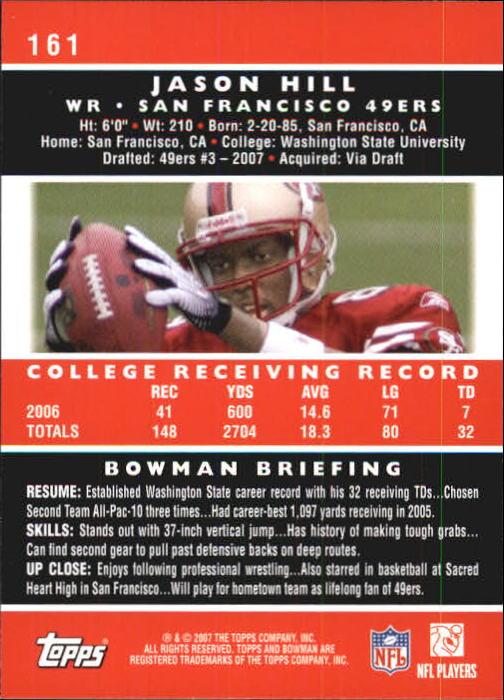 2007 Bowman #161 Jason Hill RC back image