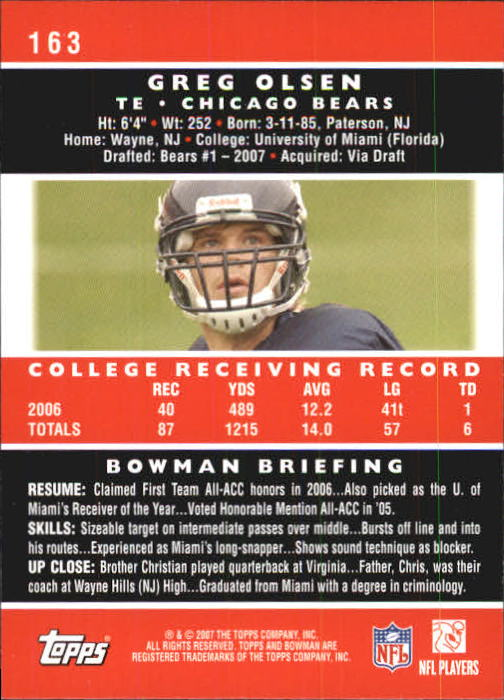 2007 Bowman #163 Greg Olsen RC back image