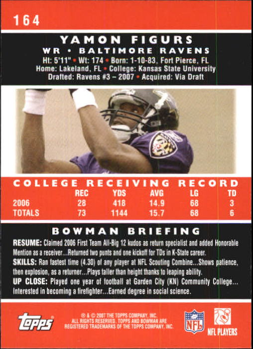 2007 Bowman #164 Yamon Figurs RC back image