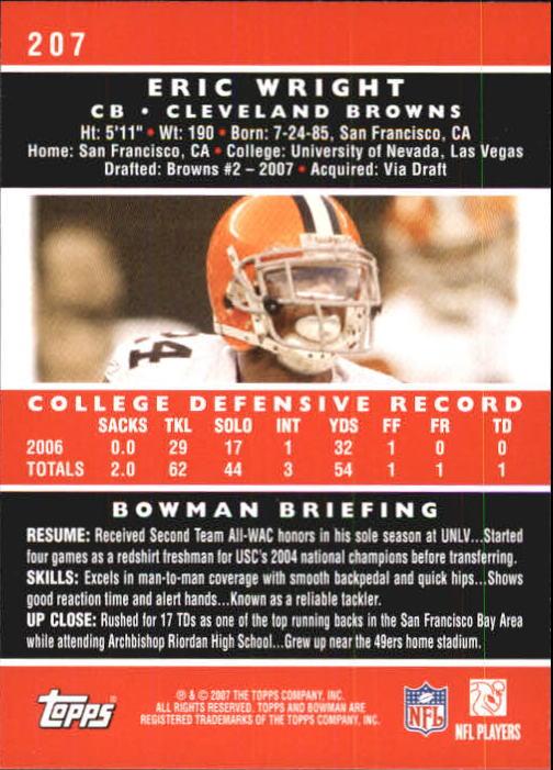 2007 Bowman #207 Eric Wright RC back image