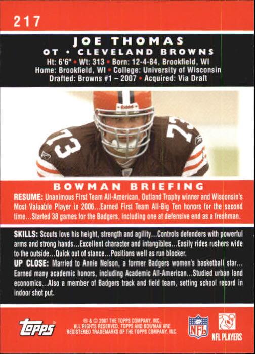 2007 Bowman #217 Joe Thomas RC back image