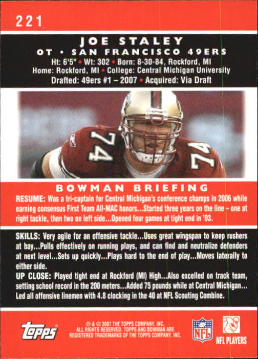 2007 Bowman #221 Joe Staley RC back image