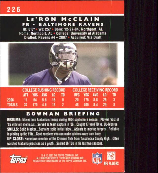 2007 Bowman #226 Le'Ron McClain RC back image