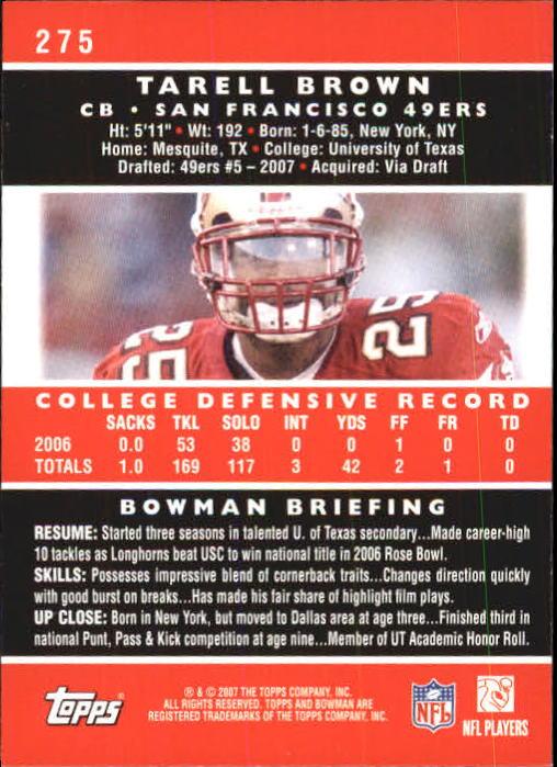 2007 Bowman #275 Tarell Brown RC back image
