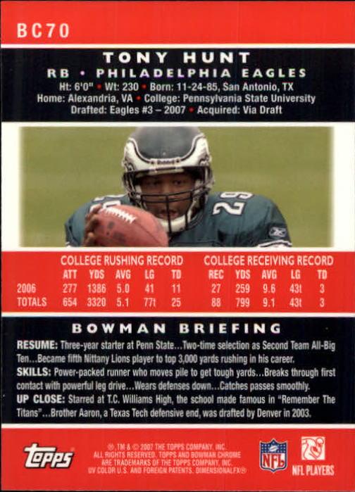 2007 Bowman Chrome #BC70 Tony Hunt RC back image