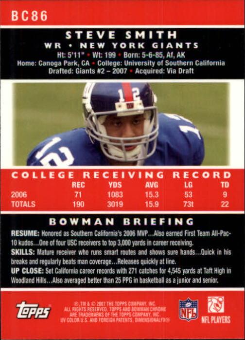 2007 Bowman Chrome #BC86 Steve Smith USC RC back image
