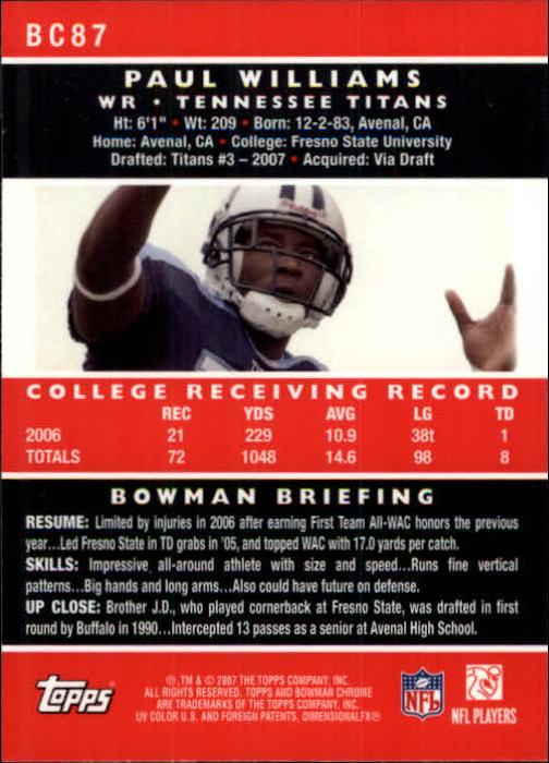 2007 Bowman Chrome #BC87 Paul Williams RC back image