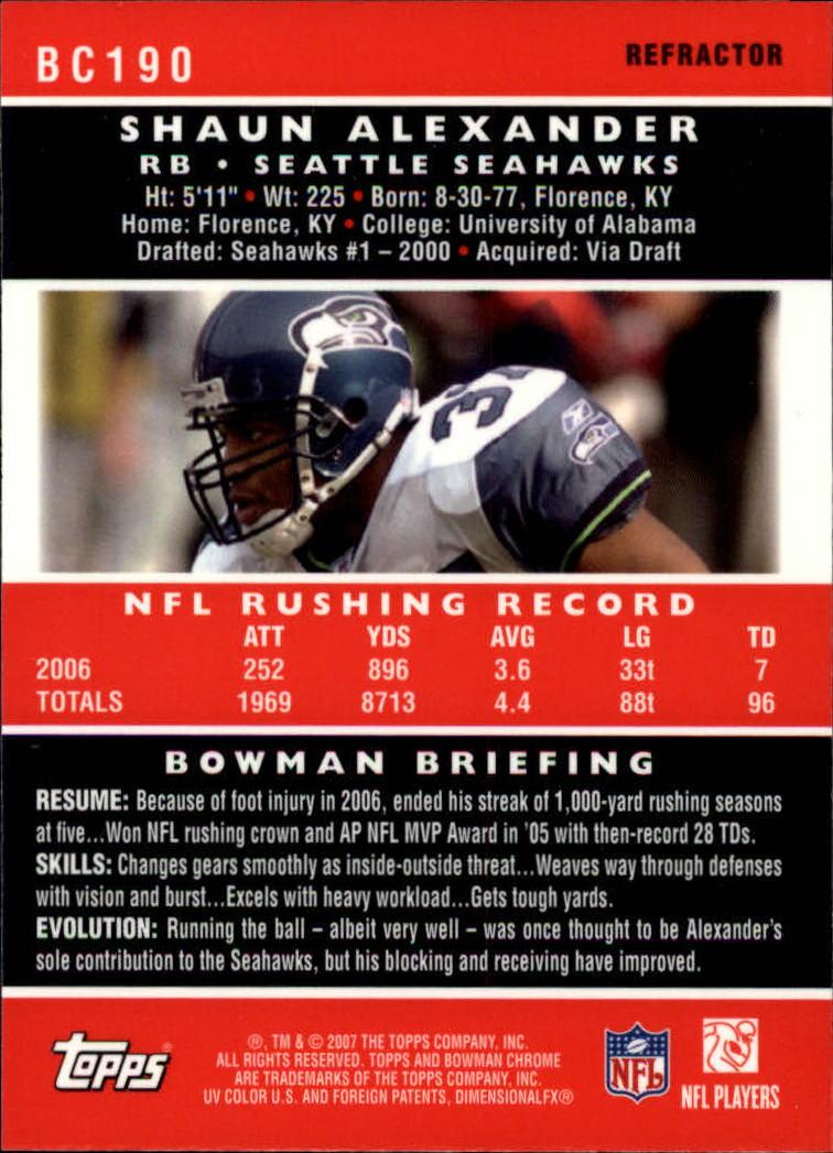 2007 Bowman Chrome Refractors #BC190 Shaun Alexander back image