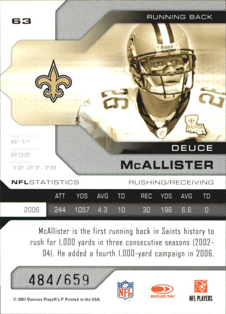 2007 Leaf Limited #63 Deuce McAllister back image