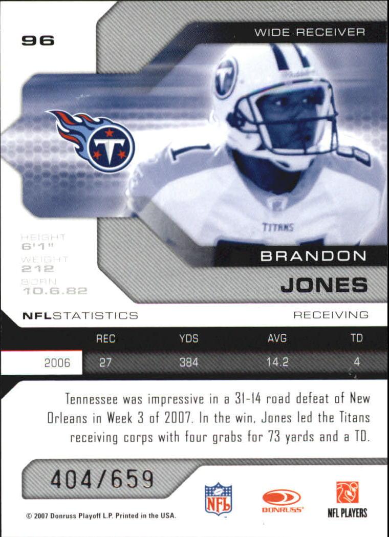 2007 Leaf Limited #96 Brandon Jones back image