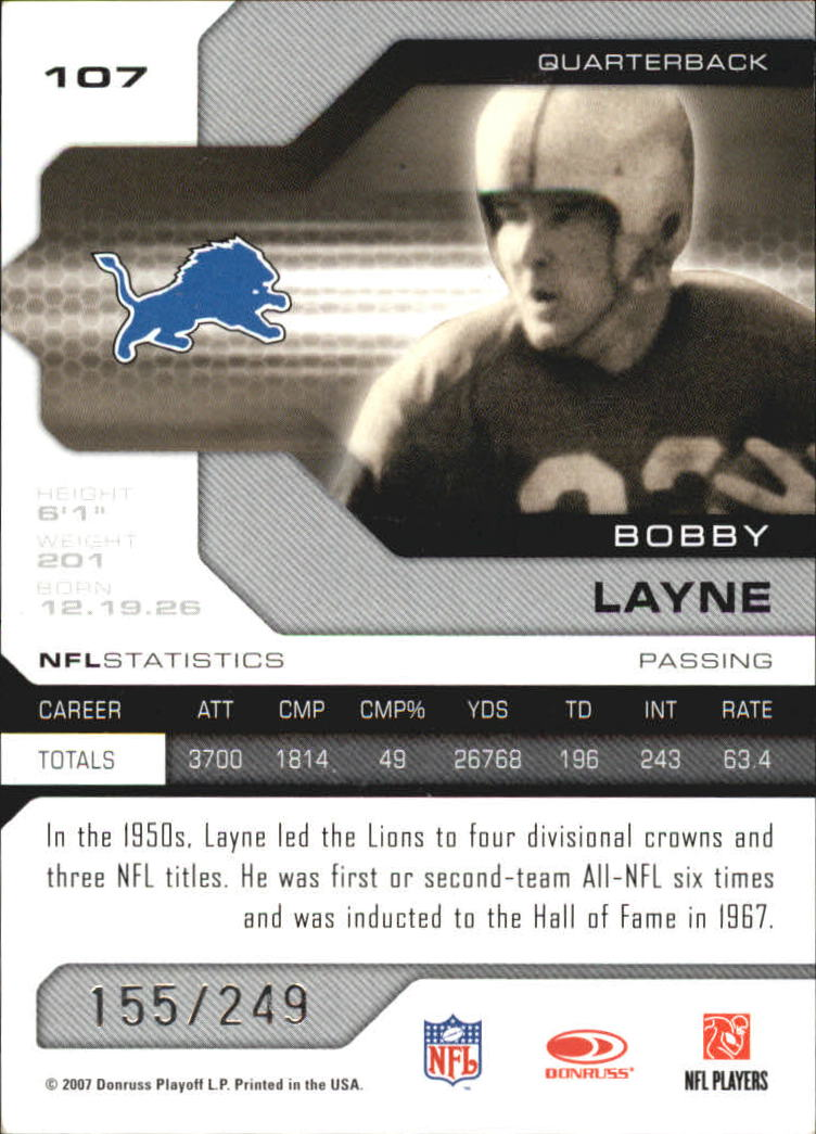 2007 Leaf Limited #107 Bobby Layne back image