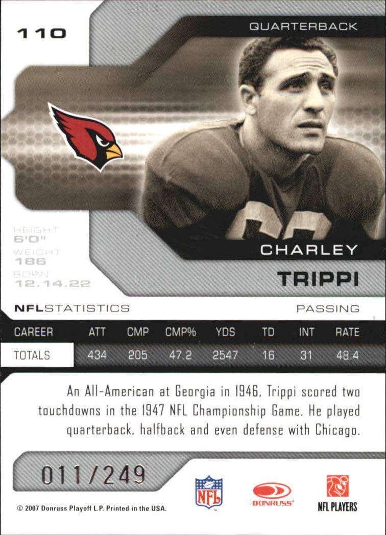 2007 Leaf Limited #110 Charley Trippi back image