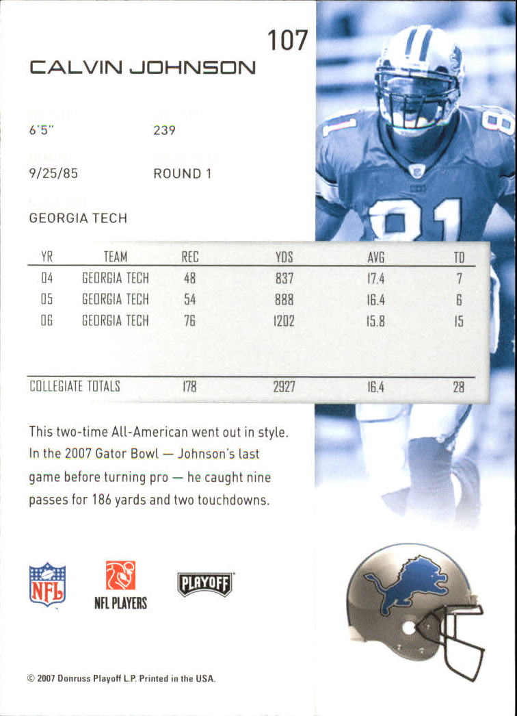 2007 Playoff NFL Playoffs #107 Calvin Johnson RC back image