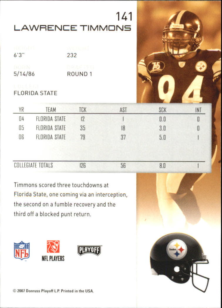 2007 Playoff NFL Playoffs #141 Lawrence Timmons RC back image