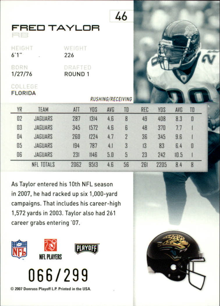 2007 Playoff NFL Playoffs Gold #46 Fred Taylor back image