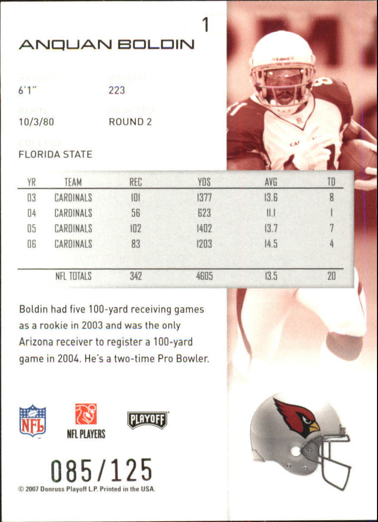 2007-Playoff-NFL-playoffs-Rojo-Metalizado-De-Futbol-Tarjeta-Pick miniatura 3