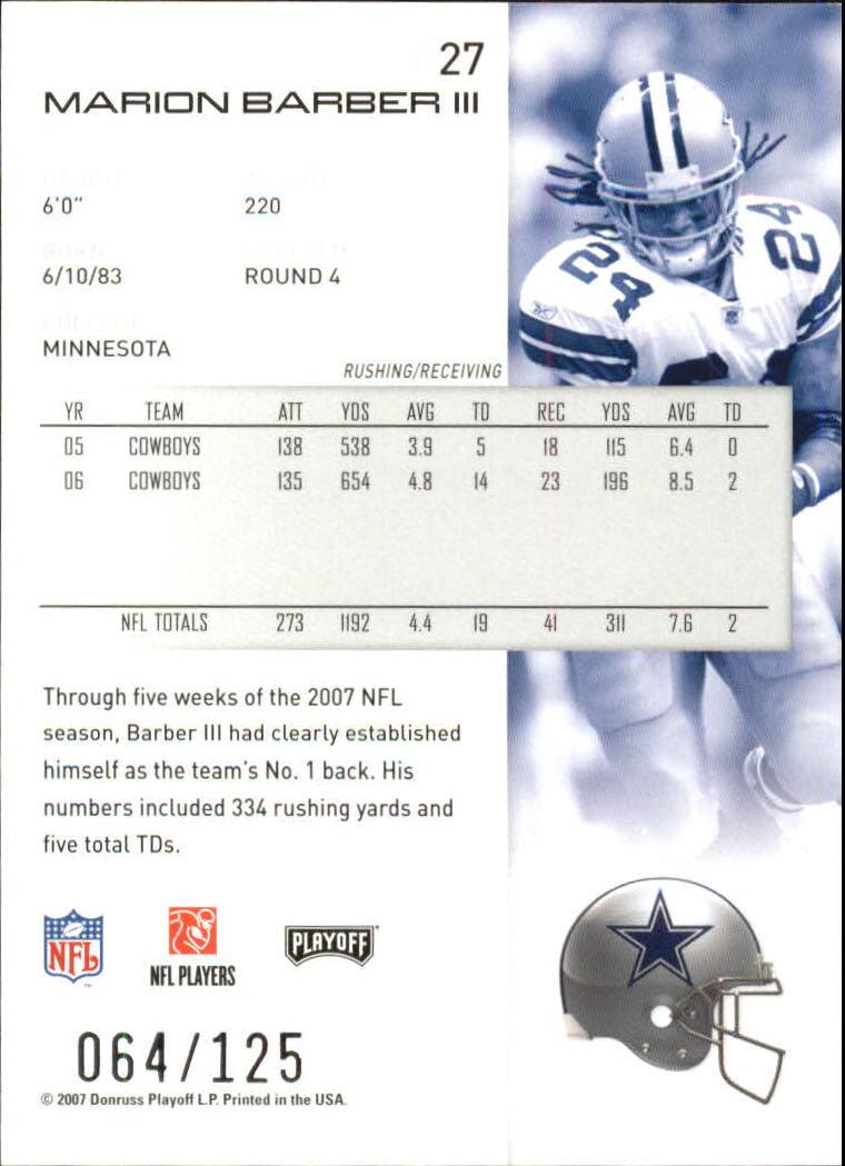 2007-Playoff-NFL-playoffs-Rojo-Metalizado-De-Futbol-Tarjeta-Pick miniatura 55