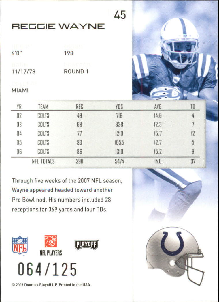 2007-Playoff-NFL-playoffs-Rojo-Metalizado-De-Futbol-Tarjeta-Pick miniatura 91