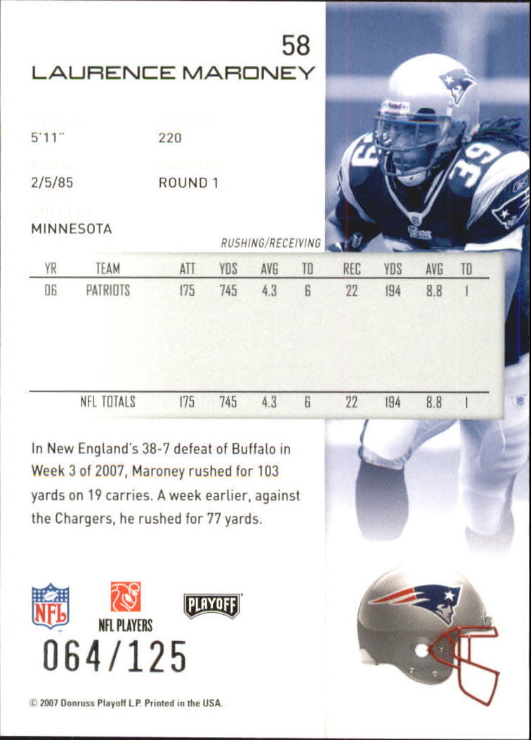 2007-Playoff-NFL-playoffs-Rojo-Metalizado-De-Futbol-Tarjeta-Pick miniatura 117