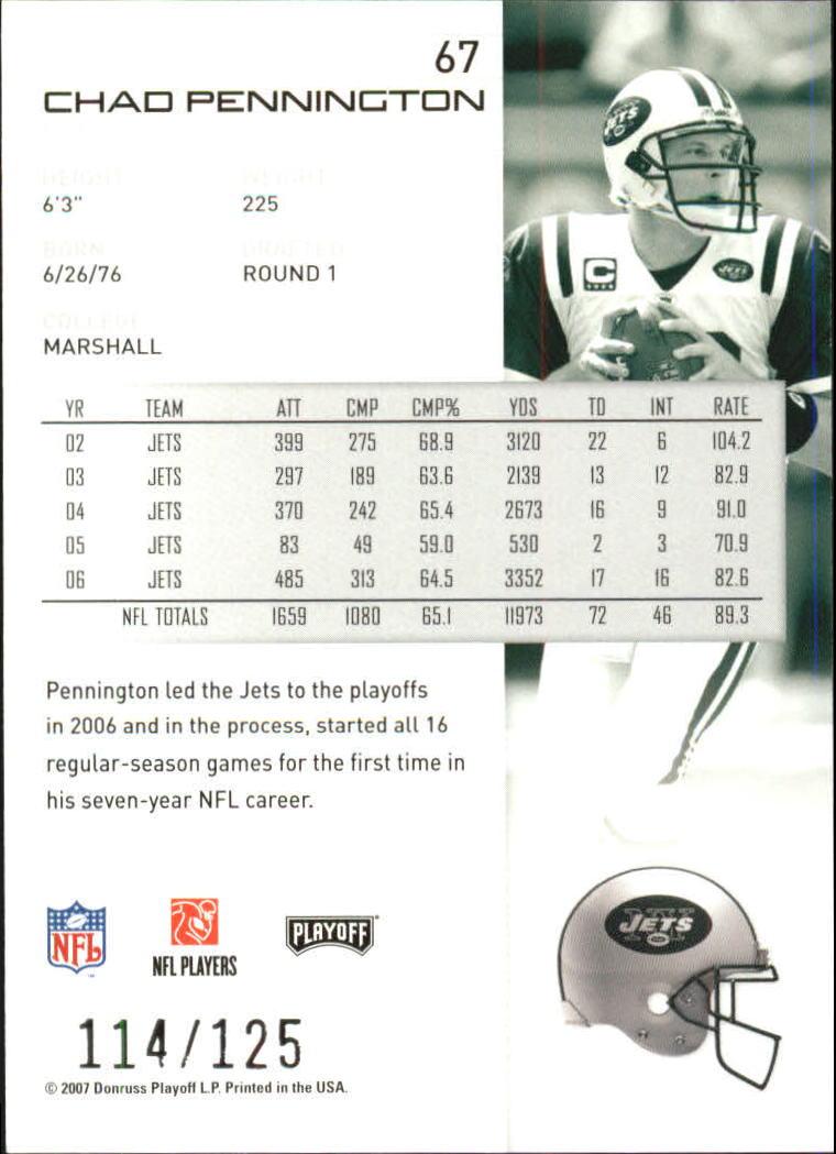 2007-Playoff-NFL-playoffs-Rojo-Metalizado-De-Futbol-Tarjeta-Pick miniatura 135