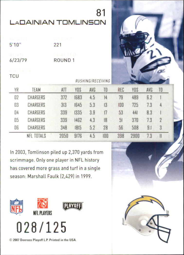2007-Playoff-NFL-playoffs-Rojo-Metalizado-De-Futbol-Tarjeta-Pick miniatura 163