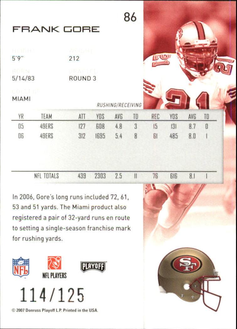 2007-Playoff-NFL-playoffs-Rojo-Metalizado-De-Futbol-Tarjeta-Pick miniatura 173