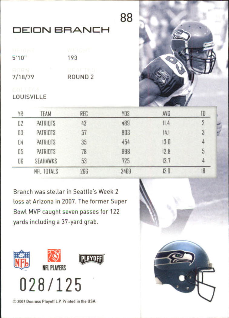 2007-Playoff-NFL-playoffs-Rojo-Metalizado-De-Futbol-Tarjeta-Pick miniatura 177