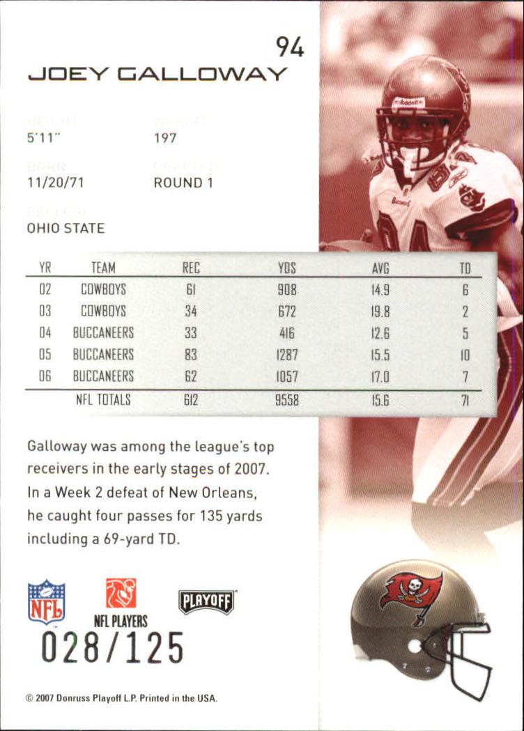 2007-Playoff-NFL-playoffs-Rojo-Metalizado-De-Futbol-Tarjeta-Pick miniatura 189