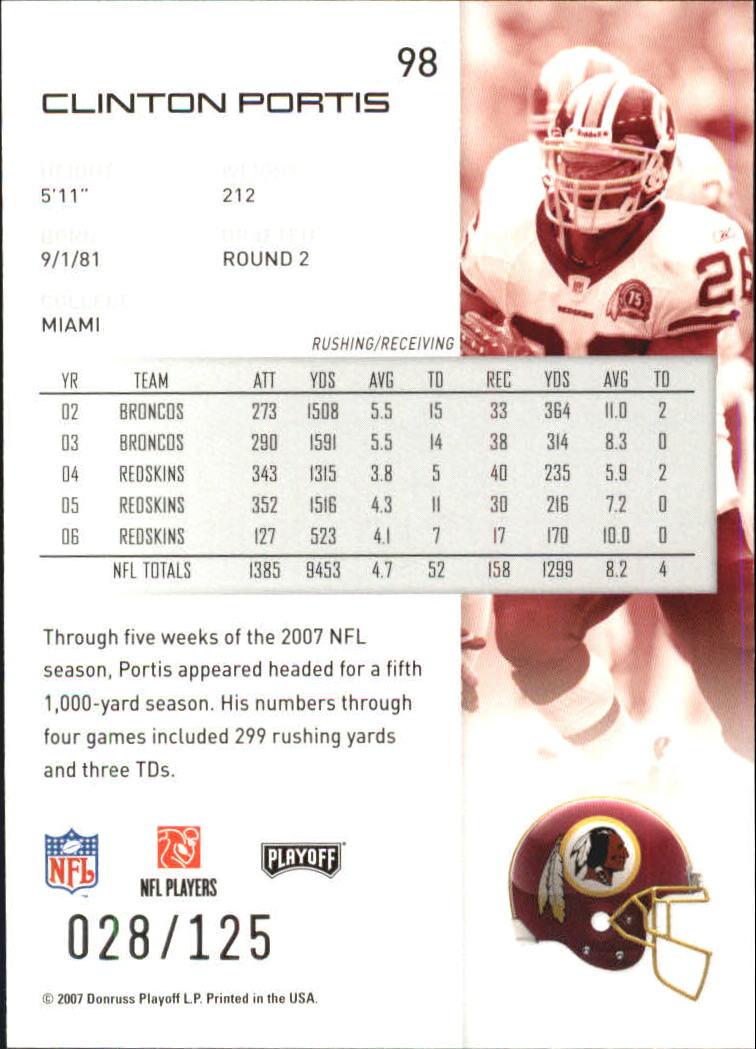 2007-Playoff-NFL-playoffs-Rojo-Metalizado-De-Futbol-Tarjeta-Pick miniatura 197