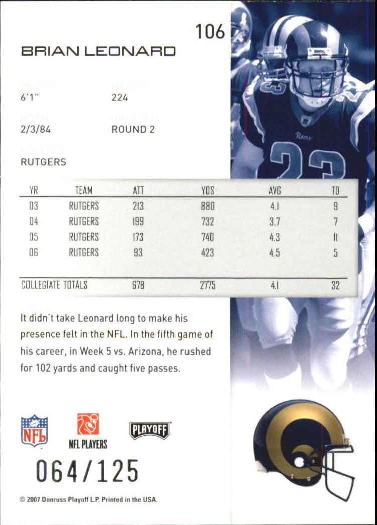 2007-Playoff-NFL-playoffs-Rojo-Metalizado-De-Futbol-Tarjeta-Pick miniatura 213