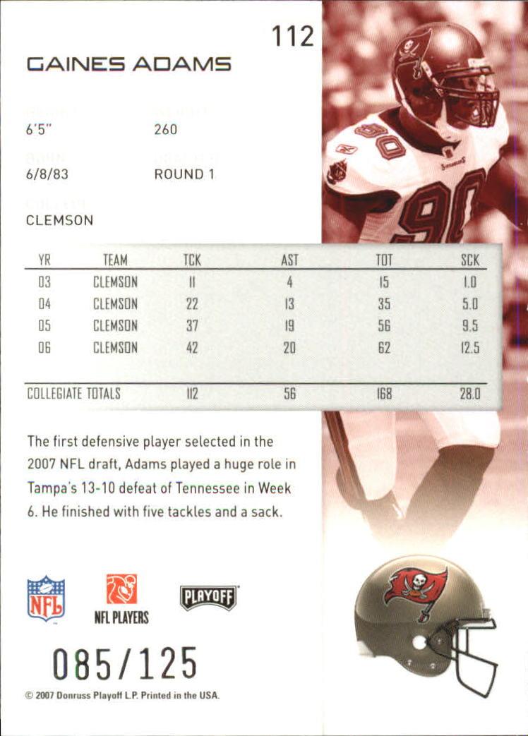 2007-Playoff-NFL-playoffs-Rojo-Metalizado-De-Futbol-Tarjeta-Pick miniatura 225