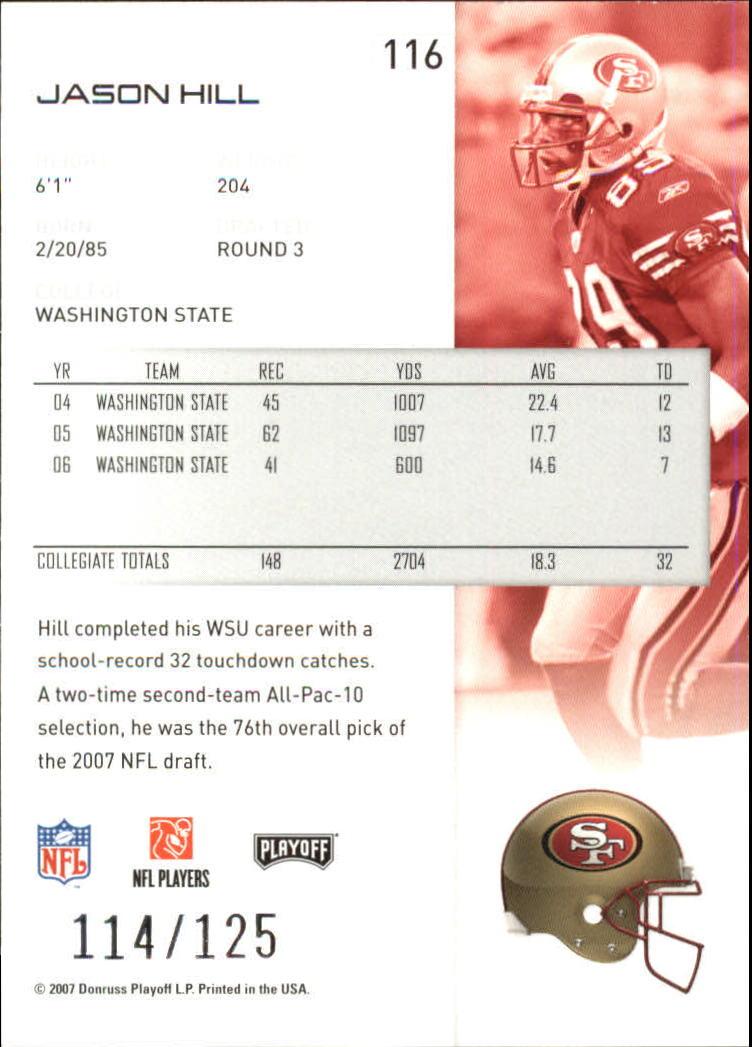2007-Playoff-NFL-playoffs-Rojo-Metalizado-De-Futbol-Tarjeta-Pick miniatura 233