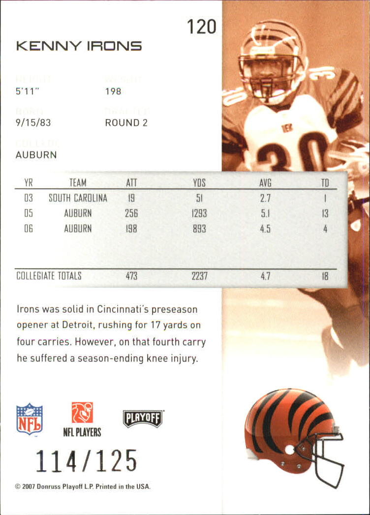 2007-Playoff-NFL-playoffs-Rojo-Metalizado-De-Futbol-Tarjeta-Pick miniatura 241