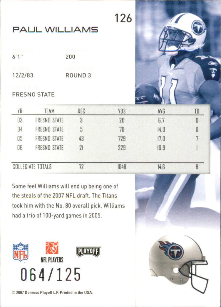 2007-Playoff-NFL-playoffs-Rojo-Metalizado-De-Futbol-Tarjeta-Pick miniatura 253
