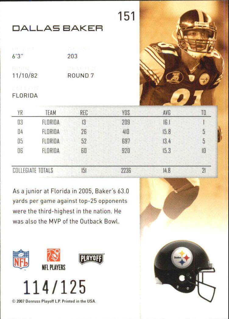 2007-Playoff-NFL-playoffs-Rojo-Metalizado-De-Futbol-Tarjeta-Pick miniatura 303
