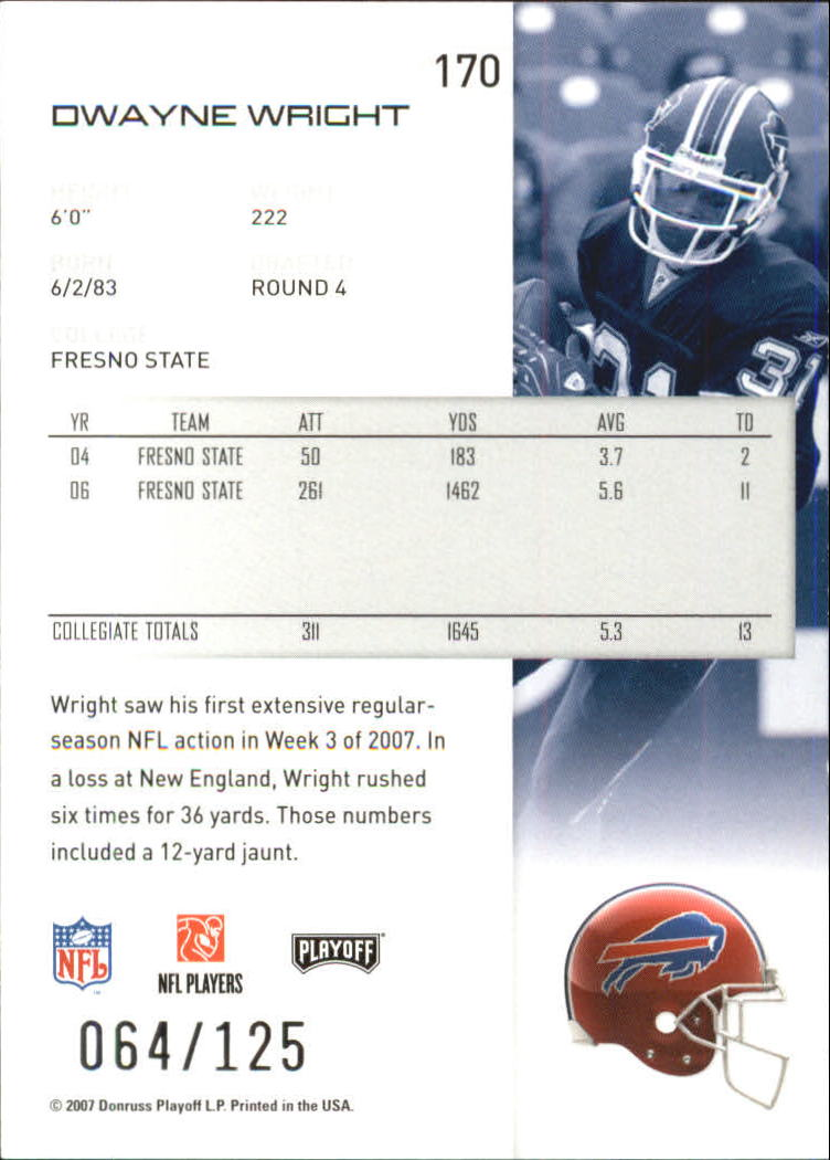 2007-Playoff-NFL-playoffs-Rojo-Metalizado-De-Futbol-Tarjeta-Pick miniatura 341